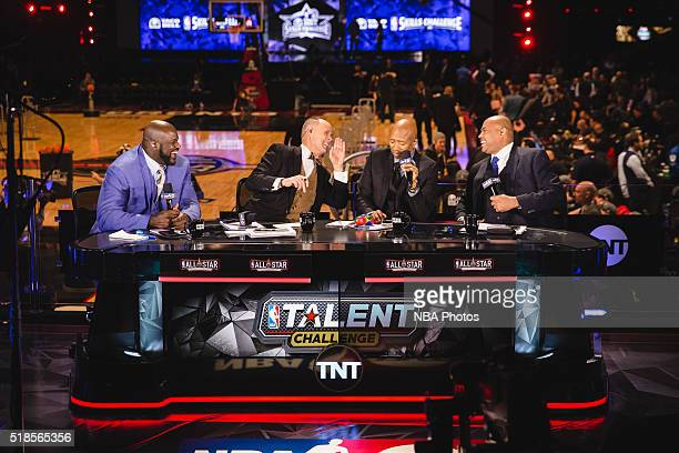 Analysts Shaquille O'Neal Ernie Johnson Kenny Smith and Charles Barkley announce the Taco Bell Skills Challenge as part of NBA AllStar 2016 on...