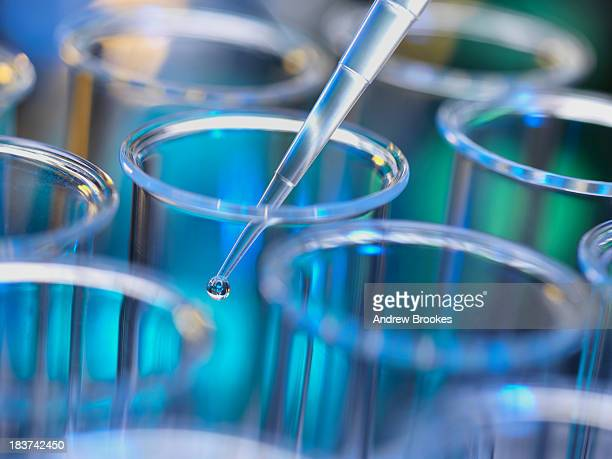 Analytical chemistry - sample being pipetted into test tube for analysis in laboratory