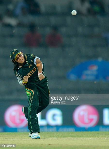 Anam Amin of Pakistan bowls during the ICC Women's world twenty20 match between Australia Women and Pakistan Women played at Sylhet International...