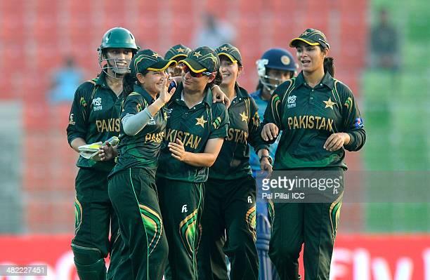 Anam Amin of Pakistan celebrates the wicket of Chamari Polgampola of Sri Lanka during the ICC Women's World Twenty20 7th/8th place ranking match...