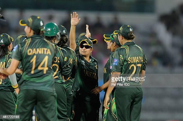 Anam Amin of Pakistan celebrates the wicket of Melissa Scott Hayward of Ireland during the ICC Women's World Twenty20 match between Pakistan Women...