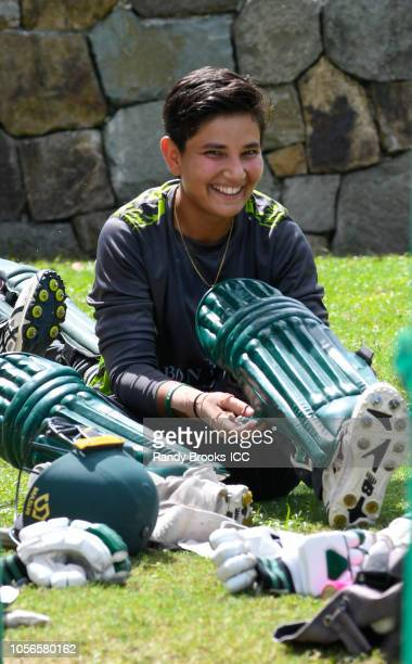 Anam Amin of Pakistan during a training session at Coolidge Cricket Ground on November 2 2018 in Coolidge Antigua and Barbuda
