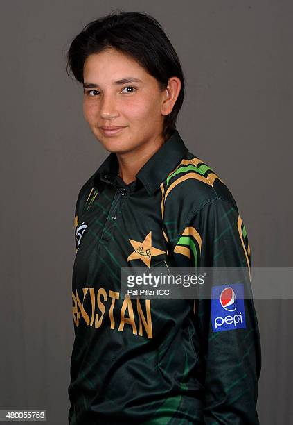 Anam Amin of Pakistan poses for a portrait during a women's headshots session before the start of the ICC Women's World T20 at the Sylhet...