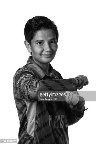 Anam Amin poses during the Pakistan Portraits session ahead of the ICC Women's World T20 2018 tournament on November 5 2018 in Georgetown Guyana