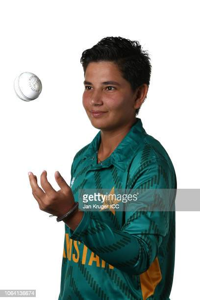 Anam Amin poses during the Pakistan Portraits session ahead of the ICC Women's World T20 2018 tournament on November 05 2018 in Georgetown Guyana