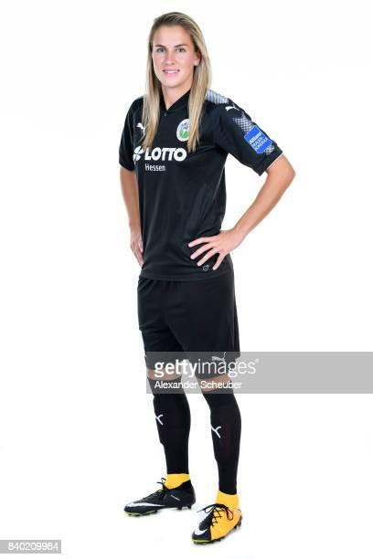 AnaMaria Crnogorcevic of 1 FFC Frankfurt poses during the Allianz Frauen Bundesliga Club Tour at Stadion am Brentanobad on August 25 2017 in...