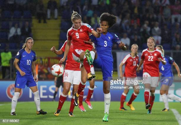AnaMaria Crnogorcevic of Switzerland battles with Wendie Renard of France during the UEFA Women's Euro 2017 Group C match between Switzerland and...