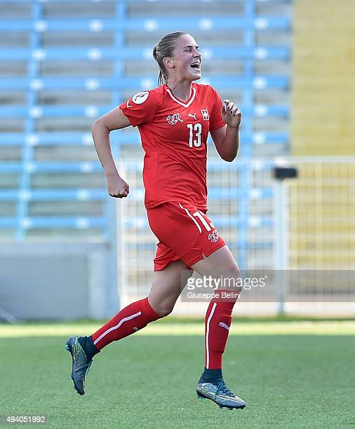 AnaMaria Crnogorcevic of Switzerland celebrates after scoring the goal 30 during the UEFA Women's Euro 2017 Qualifier between Italy and Switzerland...