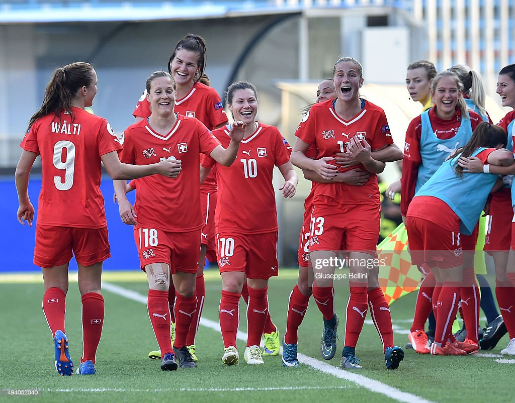 Ana-Maria Crnogorcevic of Switzerland celebrates after scoring the goal 3-0 during the UEFA Women's Euro 2017 Qualifier between Italy and Switzerland at Dino Manuzzi Stadium on October 24, 2015 in Cesena, Italy.