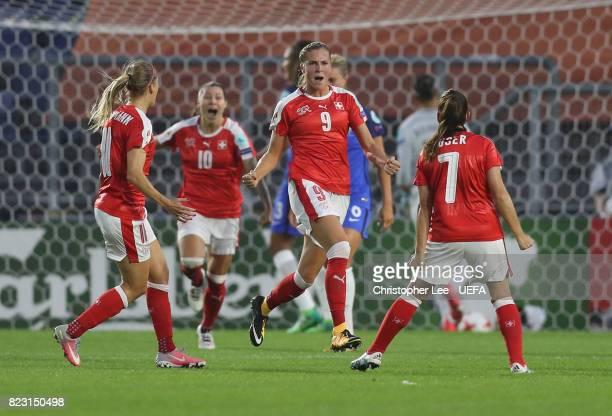 AnaMaria Crnogorcevic of Switzerland celebrates scoring their first goal during the UEFA Women's Euro 2017 Group C match between Switzerland and...