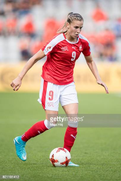 Ana-Maria Crnogorcevic of Switzerland controls the ball during the UEFA Women's Euro 2017 Group C match between Iceland and Switzerland at Stadion De...