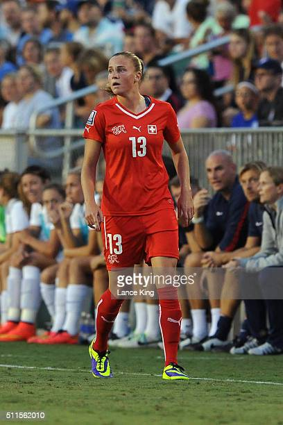 AnaMaria Crnogorcevic of the Swiss women's national team in action against the US women's national team at WakeMed Soccer Park on August 20 2014 in...