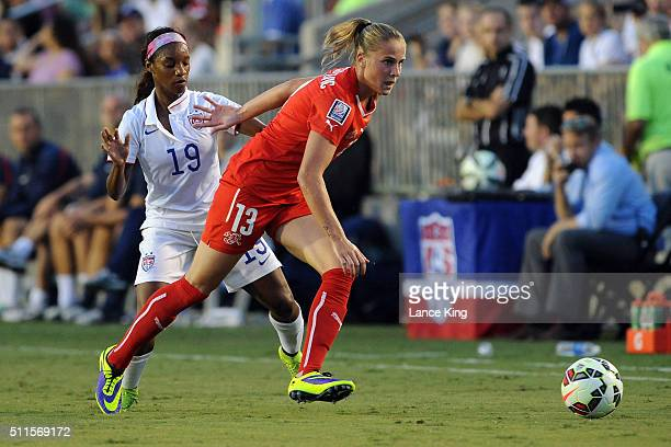 AnaMaria Crnogorcevic of the Swiss women's national team in action against Crystal Dunn of the US women's national team at WakeMed Soccer Park on...