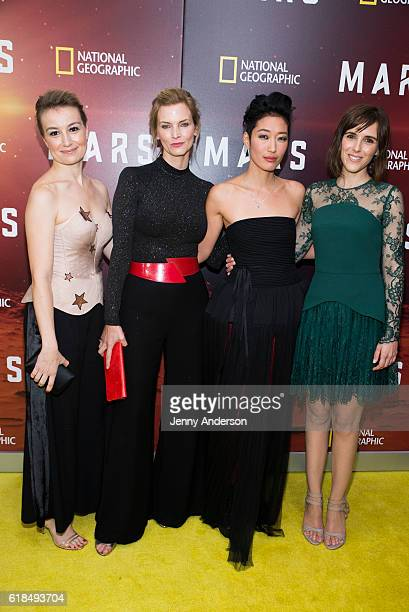Anamaria Marinca Cosima Shaw Jihae and Clementine Poidatz attend 'Mars' New York premiere at School of Visual Arts on October 26 2016 in New York City
