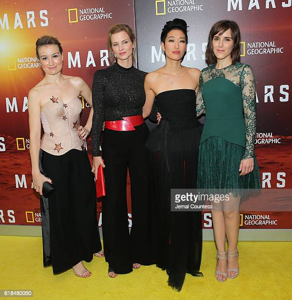 Anamaria Marinca Cosima Shaw Jihae and Clementine Poidatz attend the National Geographic Channel 'MARS' Premiere NYC on October 26 2016 in New York...