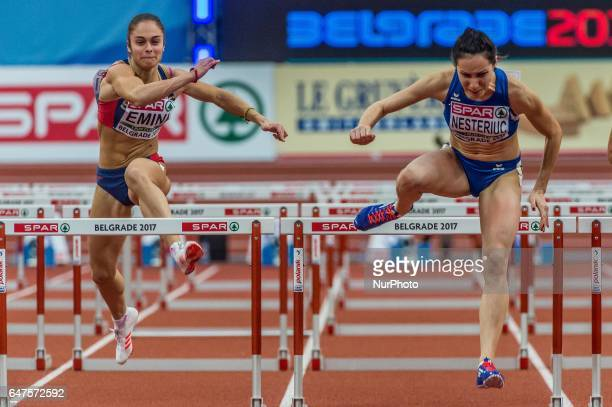 Anamaria NesteriucRomania and Milica EminiSerbia during 60m Hurdles for women at European athletics indoor championships in Belgrade on March 3 2017