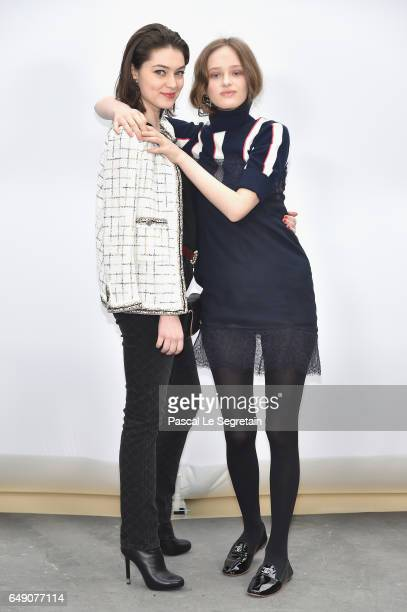 Anamaria Vartolomei and Lily Taieb attend the Chanel show as part of the Paris Fashion Week Womenswear Fall/Winter 2017/2018 on March 7 2017 in Paris...