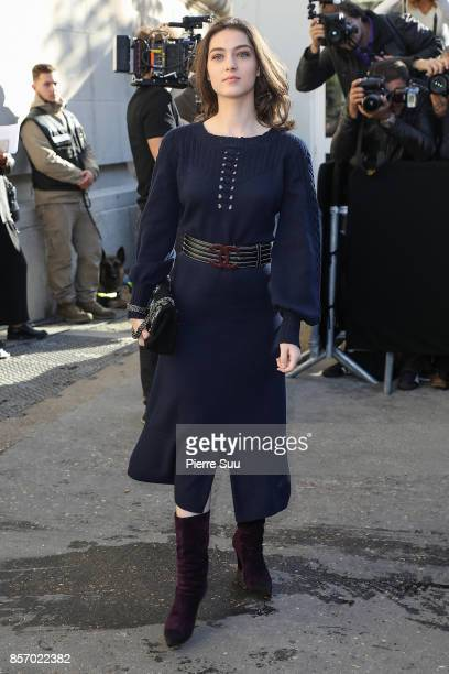Anamaria Vartolomei arrives at the Chanel show as part of the Paris Fashion Week Womenswear Spring/Summer 2018 on October 3 2017 in Paris France