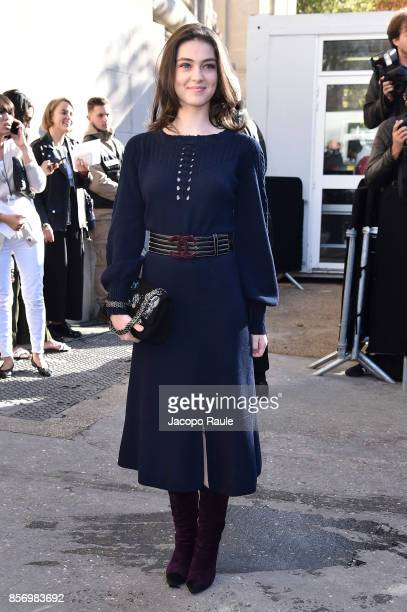 Anamaria Vartolomei is seen arriving at Chanel show during Paris Fashion Week Womenswear Spring/Summer 2018on October 3 2017 in Paris France
