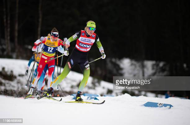 Anamarija Lampic of Slovenia competes during the women's cross country sprint quarterfinal at the FIS nordic world cup Oberstdorf on January 26, 2020...