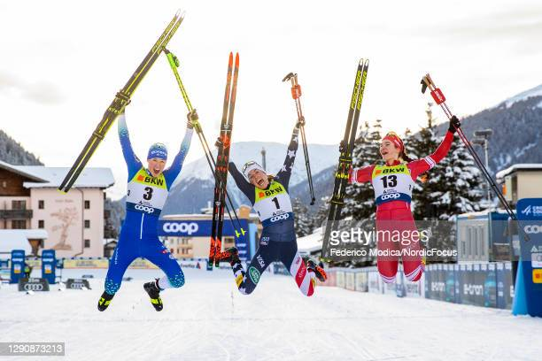 Anamarija Lampic of Slovenia , Rosie Brennan of USA and Natalia Nepryaeva of Russia celebrate after the Women's SP F Final at the Coop FIS...