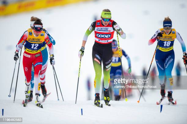 Anamarija Lampic of Slovenia takes second place during the men's/women's cross country springt at the FIS nordic world cup Oberstdorf on January 26...