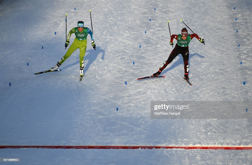 Anamarja Lampic of Slovenia (L) and Laurien van der Graaf of Switzerland race for the line during the Cross Country Ladies' Team Sprint Free semi final on day 12 of the PyeongChang 2018 Winter Olympic Games at Alpensia Cross-Country Centre on February 21, 2018 in Pyeongchang-gun, South Korea.