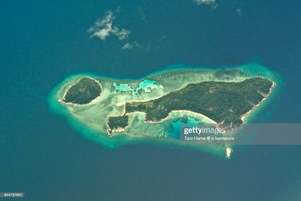 Anambas Islands in Riau in Indonesia daytime aerial view from airplane : ストックフォト
