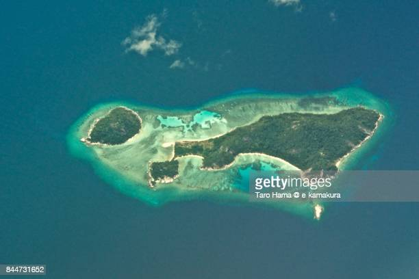 Anambas Islands in Riau in Indonesia daytime aerial view from airplane