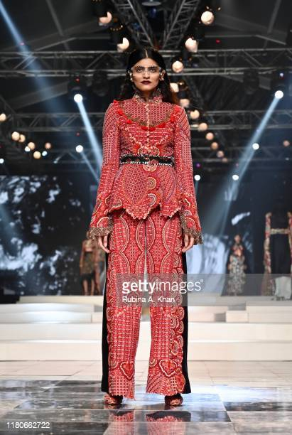 Anamika Khanna's collection at the Lotus Make-Up India Fashion Week Spring Summer 2020 Finale presented by the FDCI on October 12, 2019 in New Delhi,...
