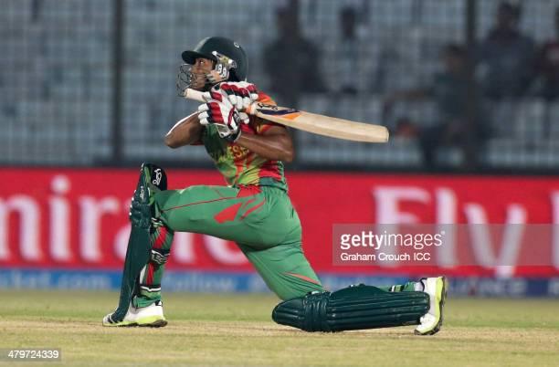 Anamul Haque of Bangladesh bats during the Bangladesh v Hong Kong match at the ICC World Twenty20 Bangladesh 2014 played at Zahur Ahmed Chowdhury...