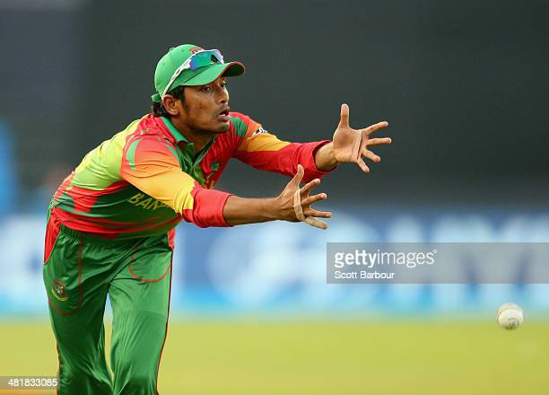 Anamul Haque of Bangladesh drops a catch in the outfield from David Warner of Australia during the ICC World Twenty20 Bangladesh 2014 match between...