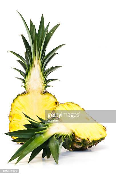 ananas pineapple bisected - bisected stock pictures, royalty-free photos & images