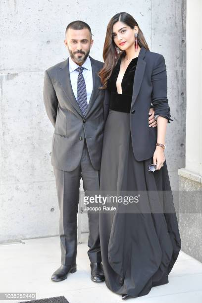 Anand Ahuja and Sonam Kapoor arrive at the Giorgio Armani show during Milan Fashion Week Spring/Summer 2019 on September 23 2018 in Milan Italy