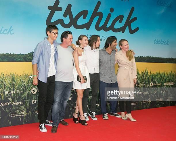 Anand Batbileg Uwe Bohm Mercedes Mueller Tristan Goebel Fatih Akin and Anja Schneider attend the 'TSCHICK' Premiere at Kino International on...