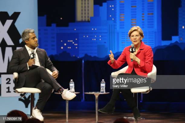 Anand Giridharadas interviews Elizabeth Warren at Conversations About America's Future Senator Elizabeth Warren at ACL Live at The Moody Theater...