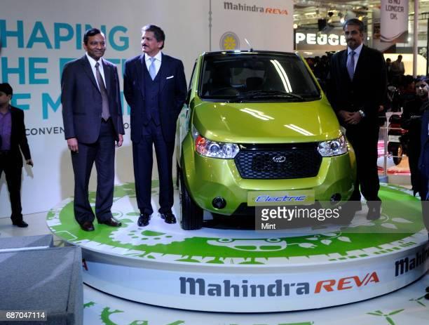 Anand Mahindra Managing Director of Mahindra Mahindra Ltd with Pawan Goenka President of the Automotive Business of Mahindra Mahindra Ltd and Rajesh...