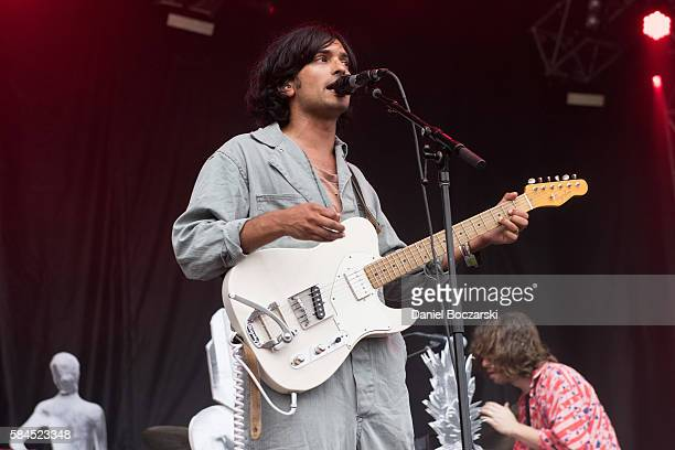 Anand Wilder and Chris Keating of Yeasayer perform during Lollapalooza at Grant Park on July 28 2016 in Chicago Illinois