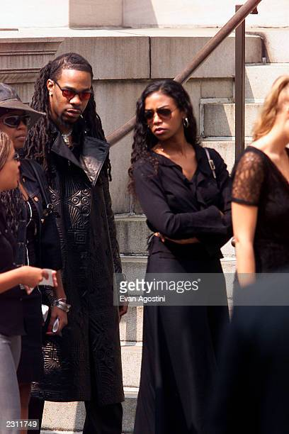 Ananda Lewis and Busta Rhymes leaving R B singer Aaliyah's memorial service at St Ignatius Loyola Roman Catholic Church in New York City 8/31/2001...