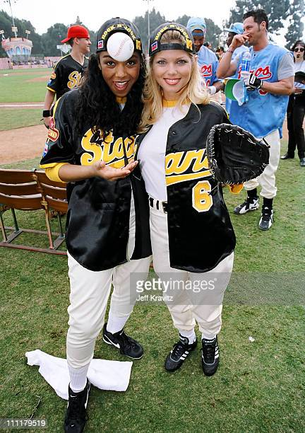 Ananda Lewis and Donna D'Errico during 1998 MTV Rock n' Jock Baseball in Los Angeles California United States