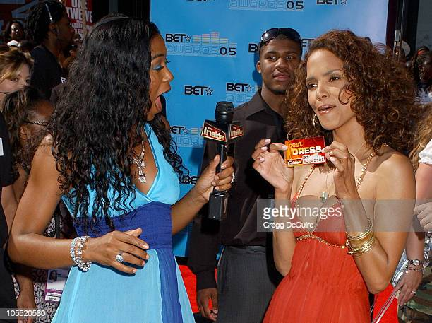 Ananda Lewis and Halle Berry during 2005 BET Awards Arrivals at Kodak Theatre in Hollywood California United States