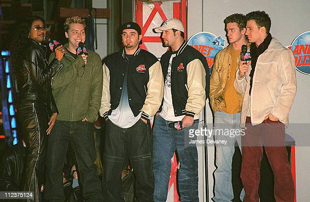 Ananda Lewis and *NSYNC during Opening of Planet Hollywood/The Sequel in NYC's Times Square at Planet Hollywood Times Square in New York City New...