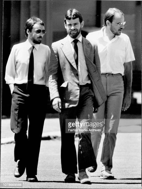 Ananda Marga Dunn Anderson and Alister leaving Dalinghurst court at lunch time also picture is their solicitorThe Ananda Marga trio from left Tim...