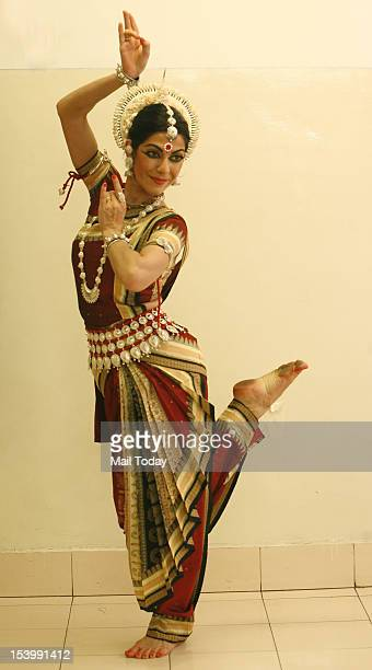 Anandini Dasi Bharatnatyam dancer from Argentina poses at New Delhi