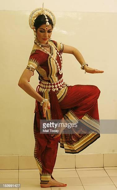 Anandini Dasi Bharatnatyam dancer from Argentina poses at New Delhi