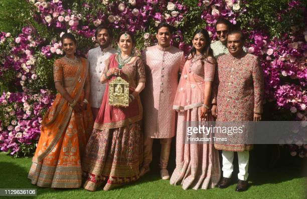 Anant Ambani Radhika Merchant Nita Ambani Akash Ambani Mukesh Ambani and Esha Ambani Piramal during the wedding ceremony of Akash Ambani and Shloka...