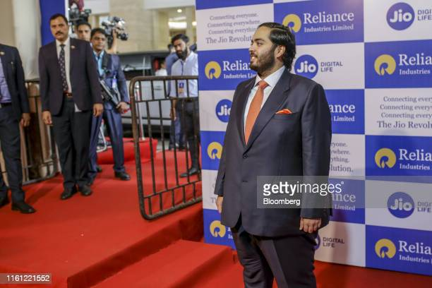 Anant Ambani son of billionaire Mukesh Ambani poses for a photograph ahead of the Reliance Industries Ltd annual general meeting in Mumbai India on...