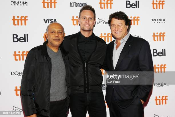 Anant Singh Ari Lantos and Robert Lantos attend the 'Clara' premiere during 2018 Toronto International Film Festival at Ryerson Theatre on September...