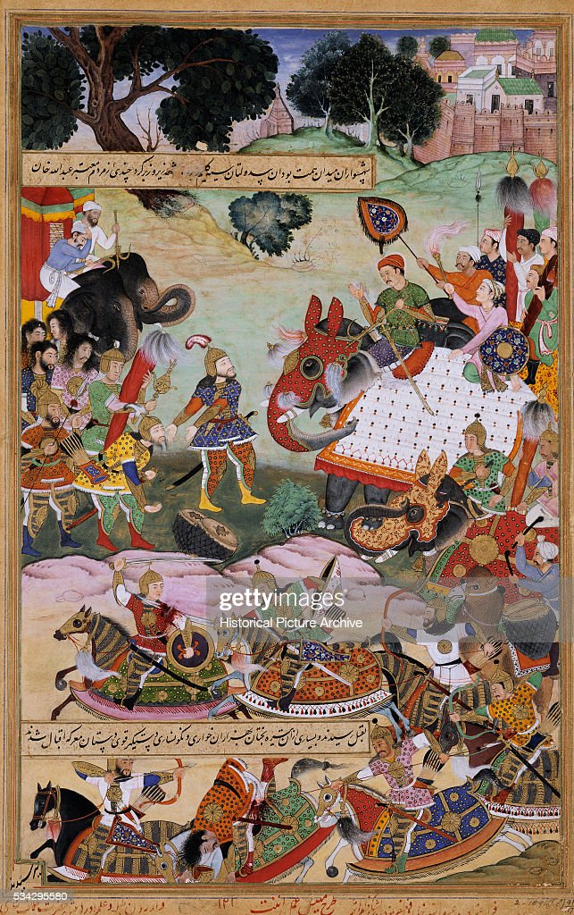 Miniature Painting of Akbar Receiving Goods from Abdullah Khan by Anant : News Photo