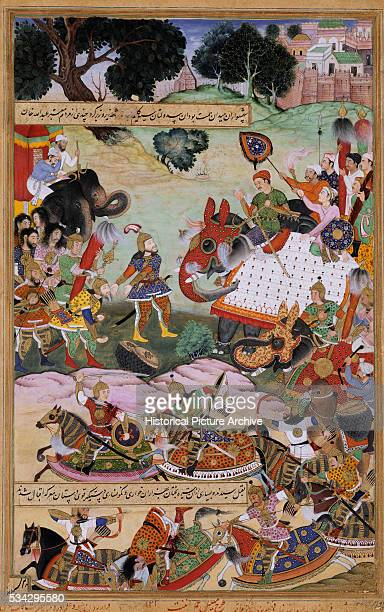 'Anant was the colorist of this miniature painting from the first version of Akbarnama written by Abul Fazl The painting depicts Abdullah Khan an...